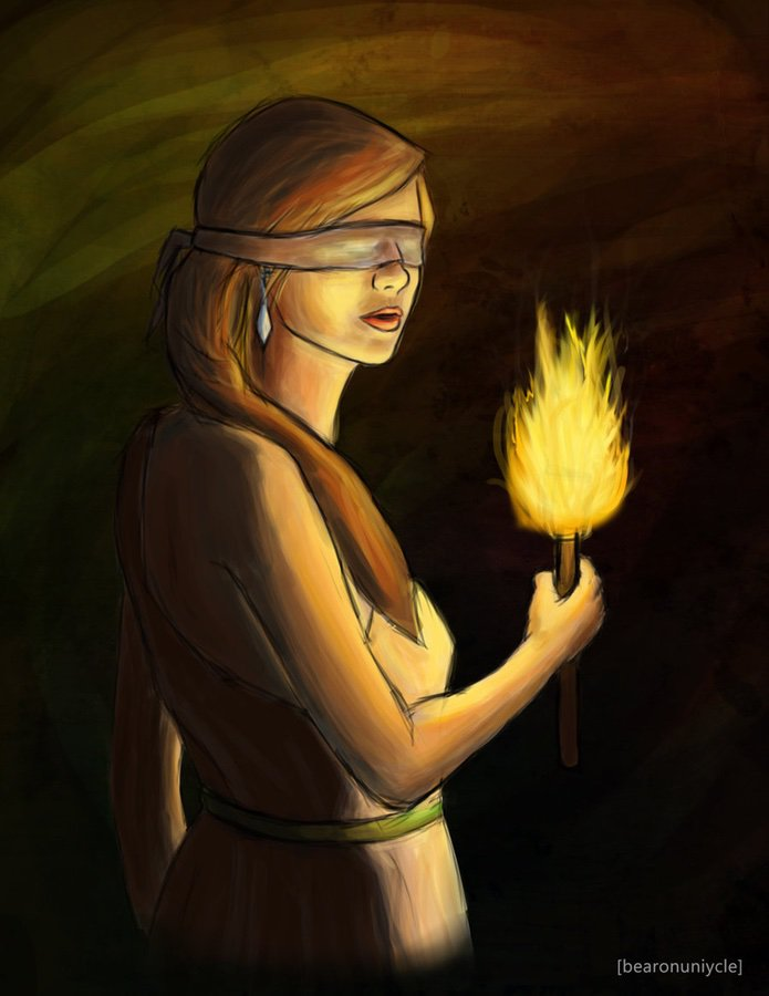 cartoon of blindfolded woman with torch